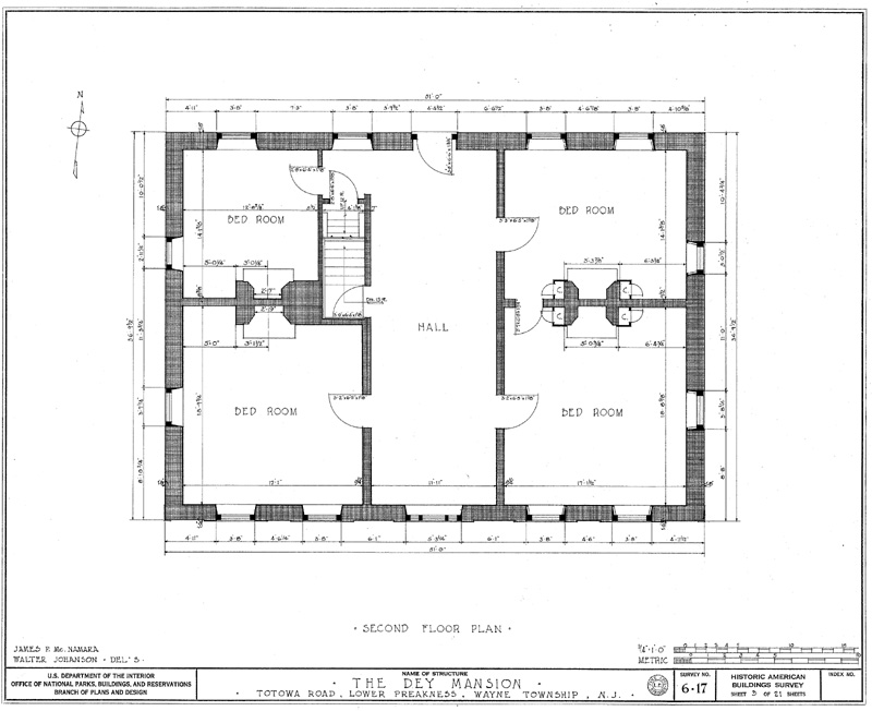 Second Floor Plan Of Dey Mansion In Wayne New Jersey