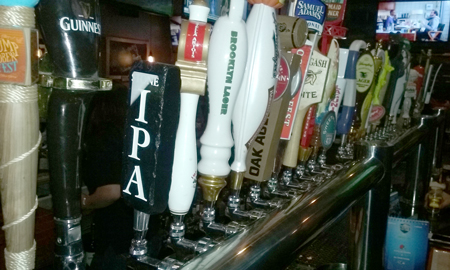 selection of beers on tap at Tiff's
