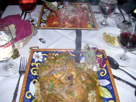 Dinner at Monicas in Pompton Lakes, Osso Buco with Rissoto and Seafood  Platter