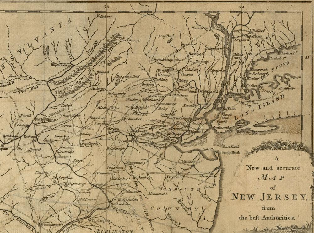1780 Map of Northern New Jersey North Jerseys Internet Magazine